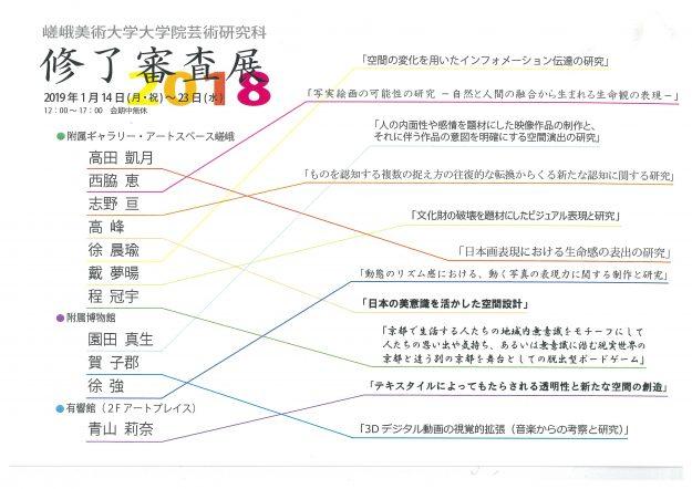 嵯峨美術大学大学院芸術研究科 修了審査展20180